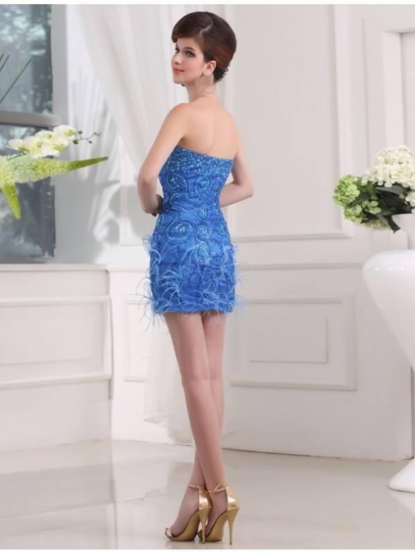 Gorgeous Sheath Sweetheart Sleeveless Short Organza Bridesmaid Dress