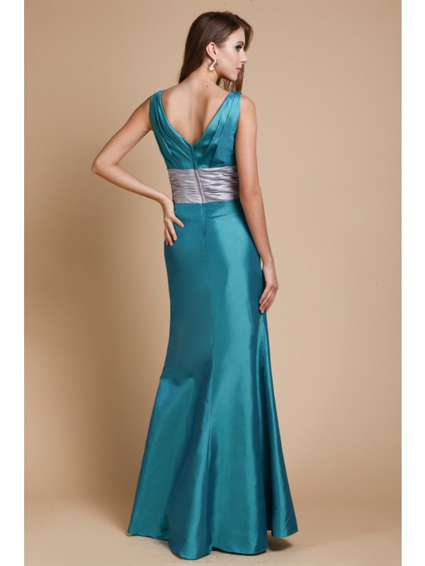 Gorgeous Sheath V-Neck Sleeveless Taffeta Bridesmaid Dress