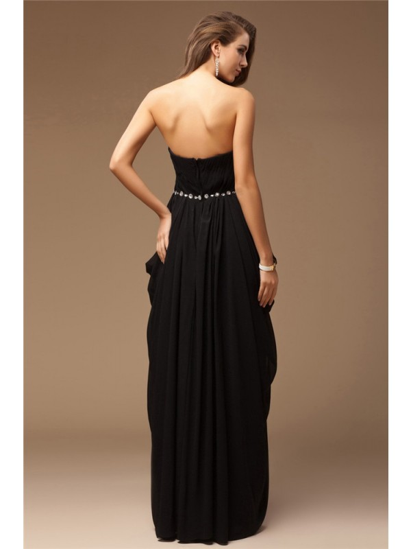 Modest Sheath Sweetheart Sleeveless Long Chiffon Dress