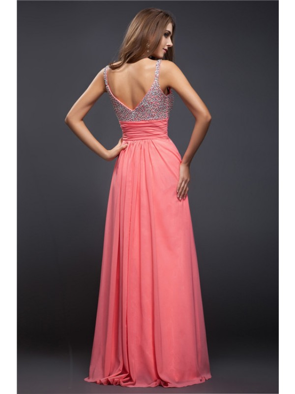 Modest Sheath Spaghetti Straps Sleeveless Long Chiffon Dress