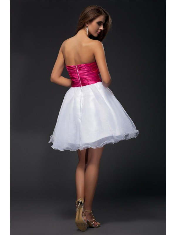 Gorgeous A-Line Strapless Sleeveless Sash Short Organza Elastic Woven Satin Cocktail Dress