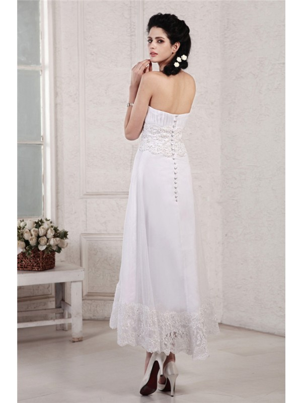 Beautiful A-Line Strapless Sleeveless Short Chiffon Wedding Dress