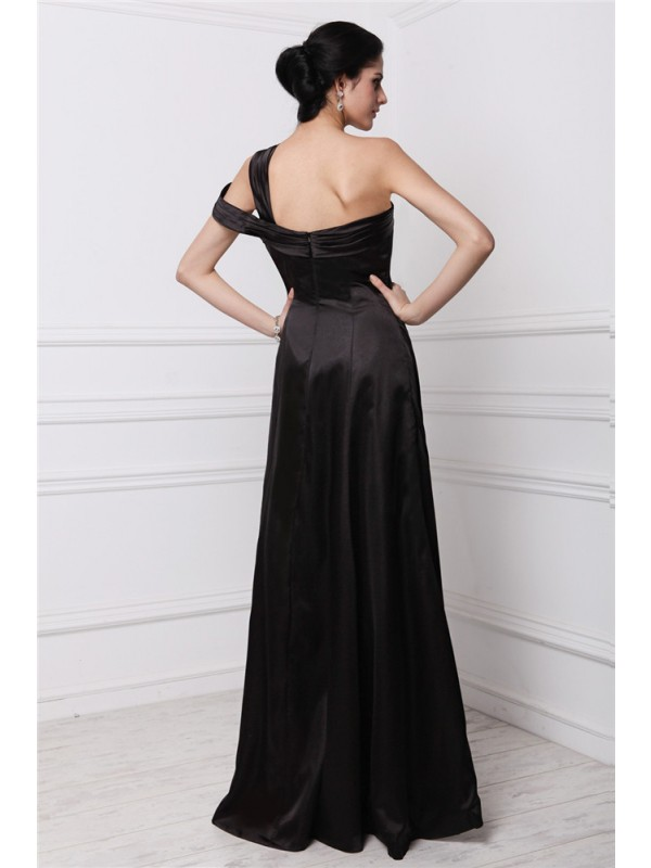 Modest Sheath One-Shoulder Sleeveless Long Elastic Woven Satin Dress