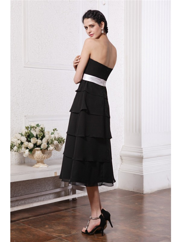 Gorgeous A-Line Sweetheart Sleeveless Short Sash Short Chiffon Bridesmaid Dress