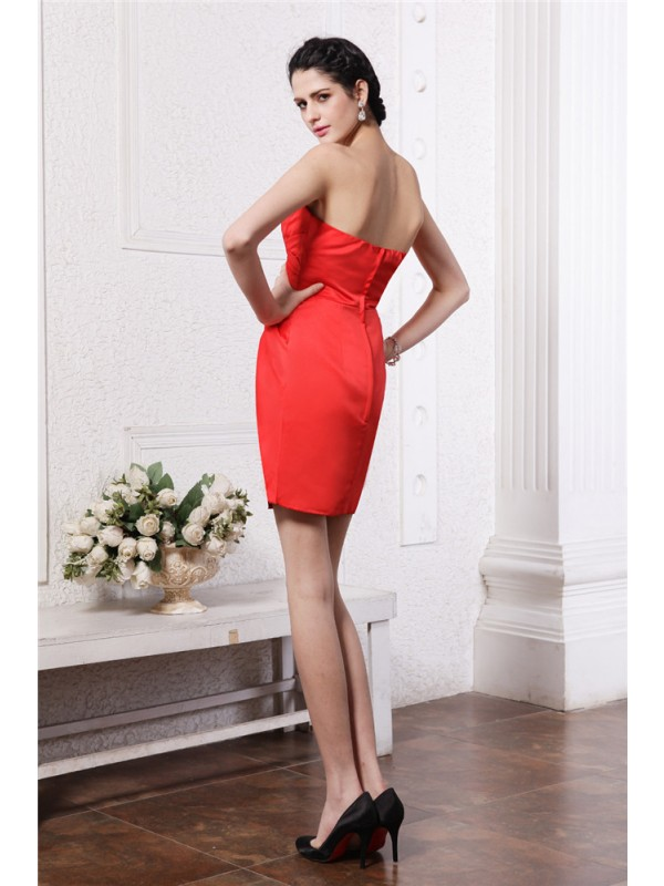 Gorgeous Sheath Strapless Sleeveless Short Elastic Woven Satin Bridesmaid Dress