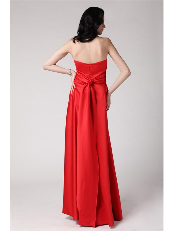 Gorgeous A-Line Strapless Sleeveless Long Elastic Woven Satin Bridesmaid Dress