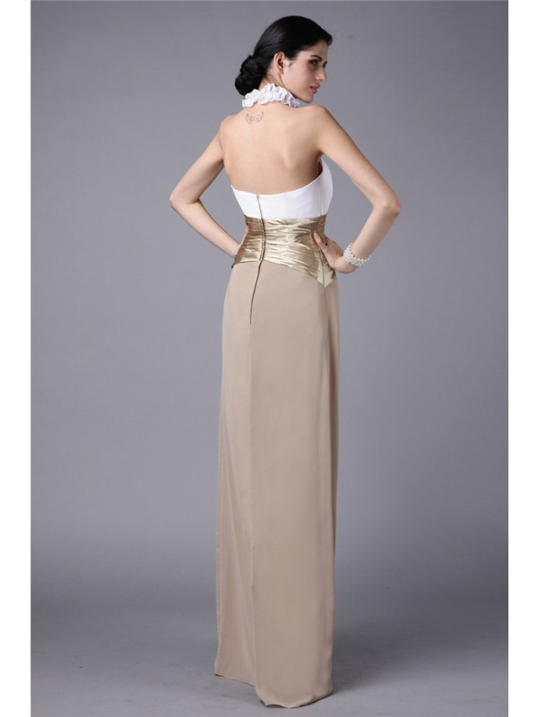 Gorgeous Sheath High Neck Sleeveless Long Elastic Woven Satin Chiffon Bridesmaid Dress