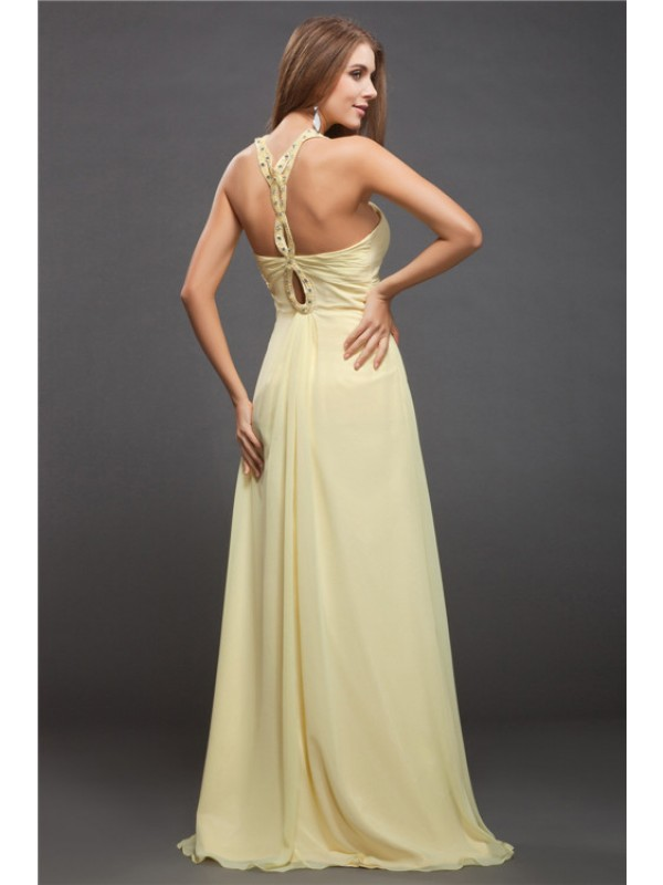 Modest Sheath Halter Sleeveless Long Chiffon Dress