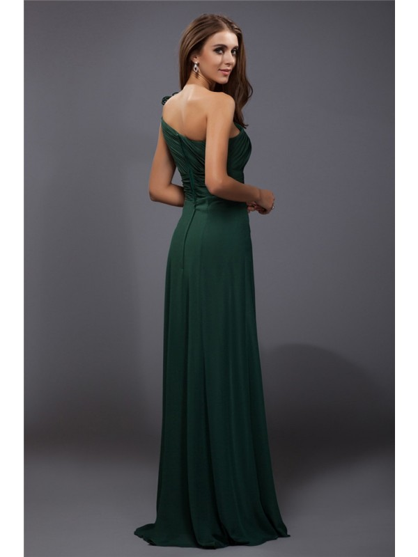 Modest Sheath One-Shoulder Sleeveless Long Chiffon Dress