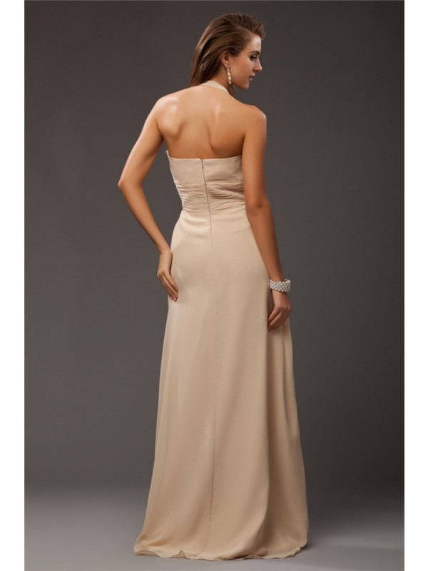 Gorgeous Sheath Halter Sleeveless Long Chiffon Bridesmaid Dress