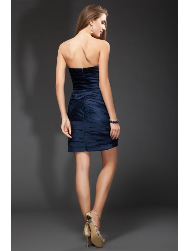 Gorgeous Sheath Sweetheart Sleeveless Short Satin Bridesmaid Dress