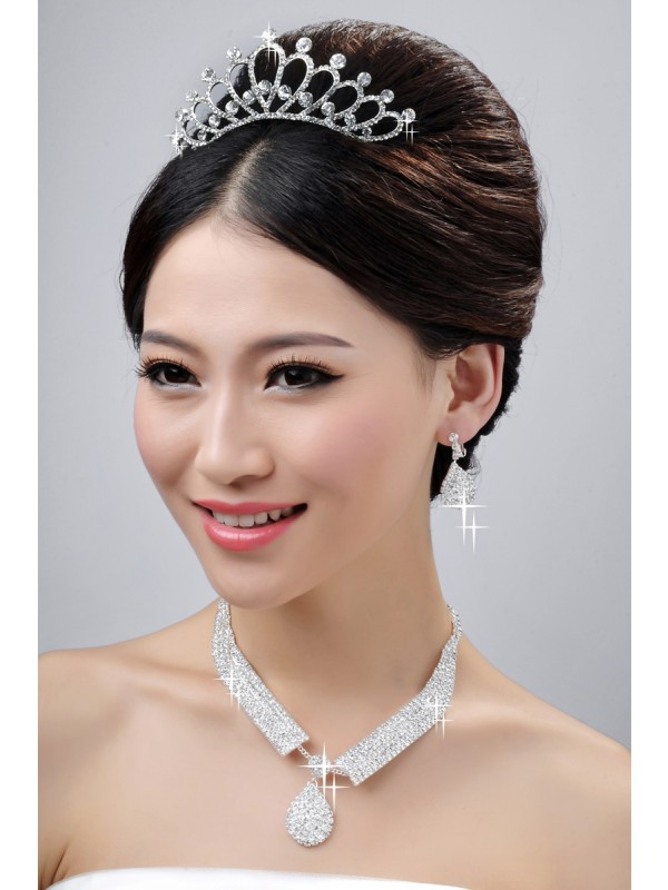 Elegant Wedding Headpiece Necklaces Earrings Set