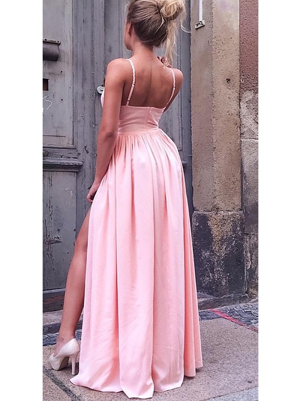 Fashion A-Line Sleeveless Straps Floor-Length Chiffon Dress