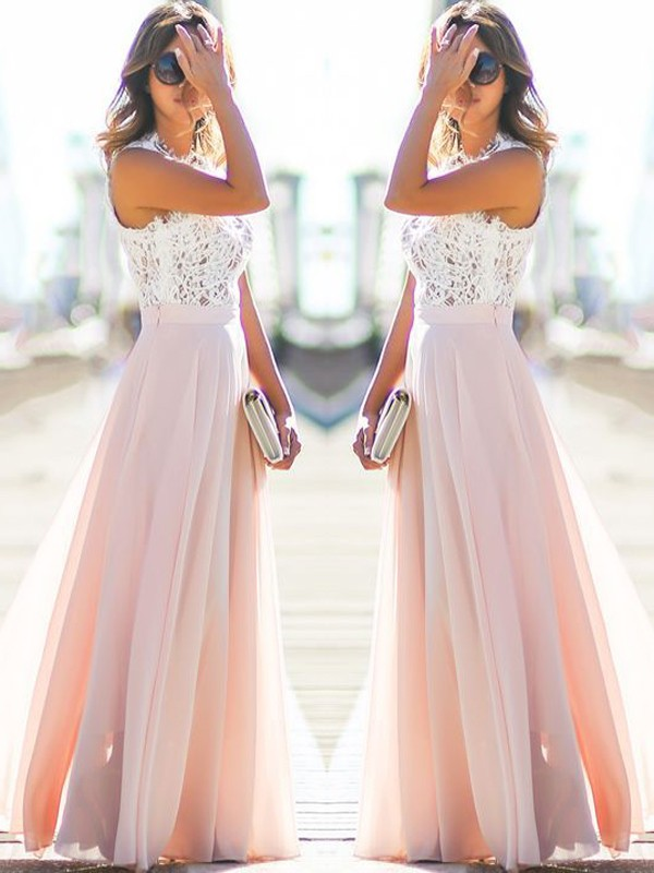 Gorgeous A-Line Jewel Sleeveless Floor-Length Lace Chiffon Dress