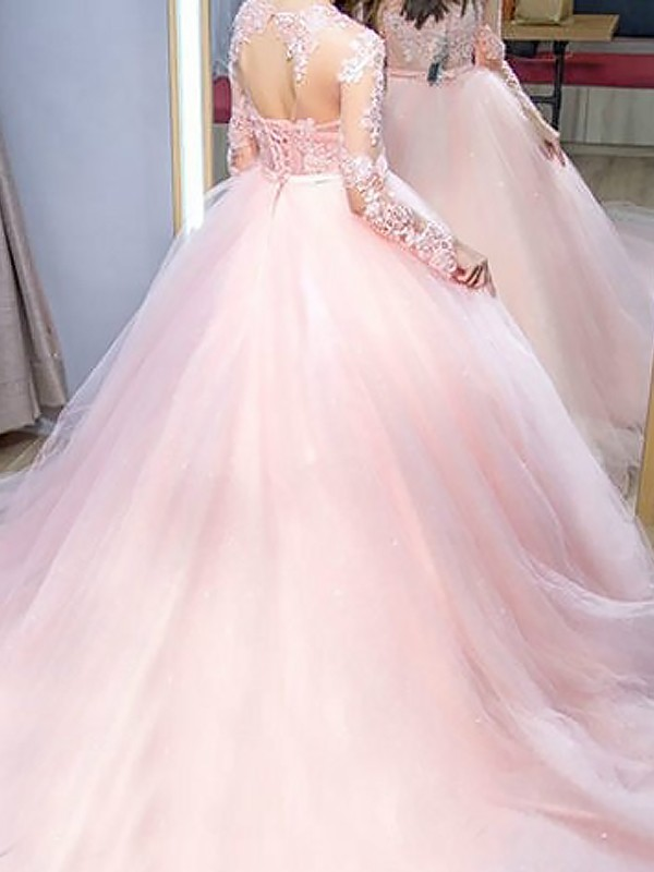 Unique Ball Gown Jewel Long Sleeves Sweep/Brush Train Lace Tulle Dress