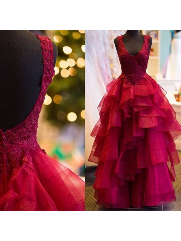 Stunning Ball Gown Sleeveless V-Neck Floor-Length Tulle Dress