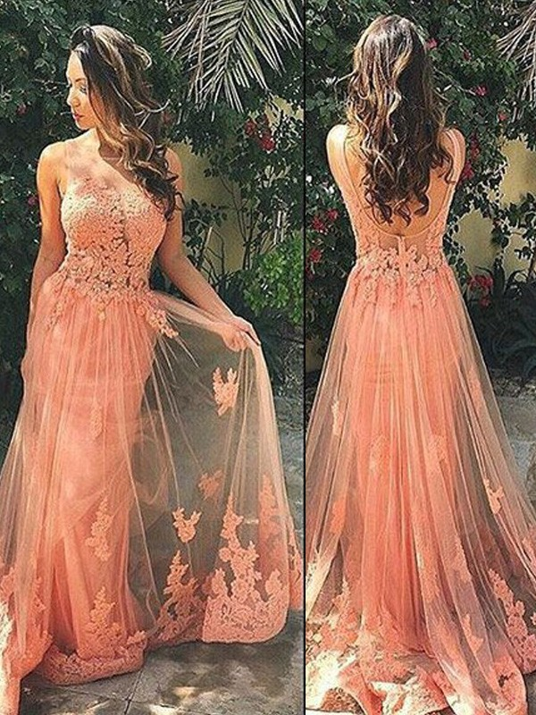 Stunning A-Line Straps Sleeveless Tulle Sweep/Brush Train Dress