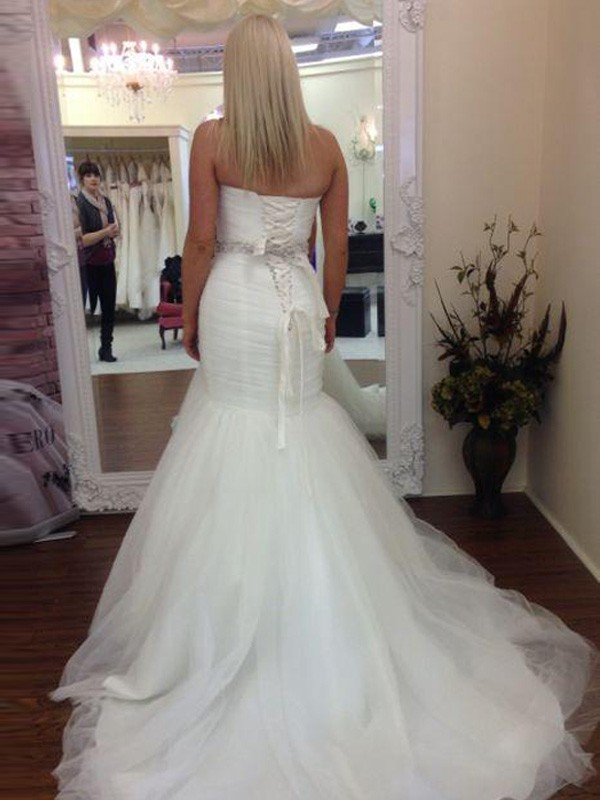 Discount Mermaid Sleeveless Sweetheart Court Train Tulle Wedding Dress