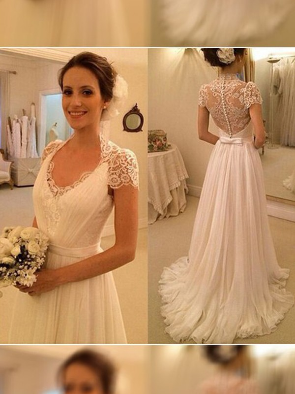 Affordable A-Line V-neck Sweep/Brush Train Sleeveless Lace Chiffon Wedding Dress