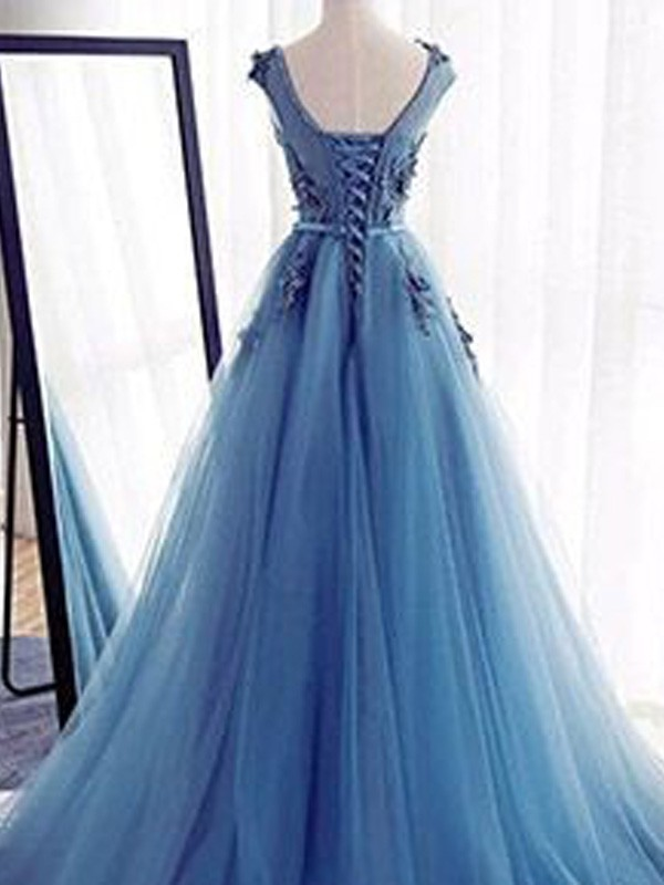 Perfect Ball Gown Sleeveless Jewel Sweep/Brush Train Tulle Dress