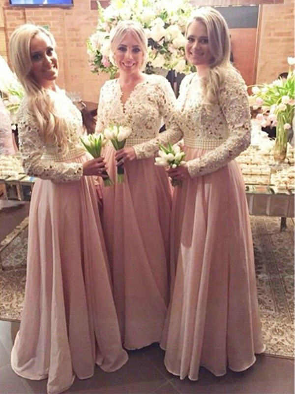 Cheap A-Line Long Sleeves V-neck Floor-Length Lace Chiffon Bridesmaid Dress