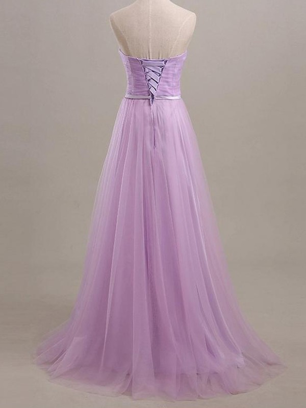 Cheap A-Line Sleeveless Sweetheart Floor-Length Tulle Bridesmaid Dress