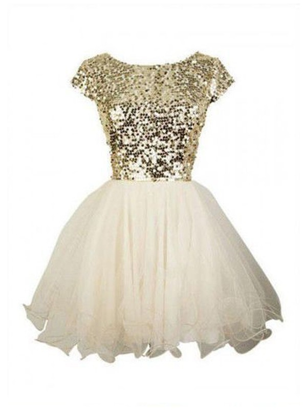 Discount A-Line Sleeveless Scoop Sequin Tulle Short/Mini Dress