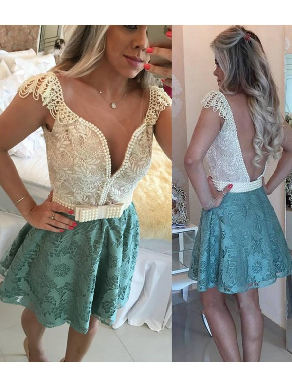 Discount A-Line Sleeveless V-neck Lace Short/Mini Dress