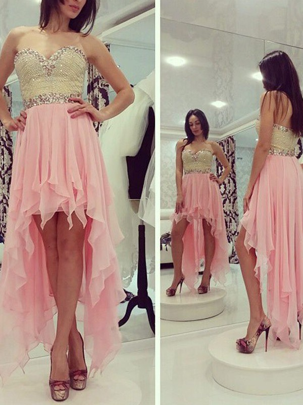 Discount A-Line Sleeveless Sweetheart Chiffon Asymmetrical Dress