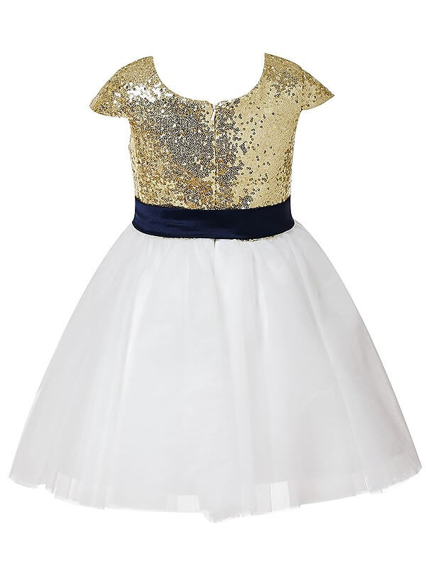 Chic A-Line Short Sleeves Jewel Sequins Tulle Short/Mini Flower Girl Dress