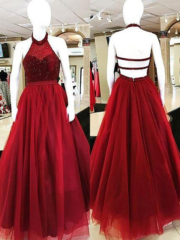 Stylish Ball Gown Sleeveless Halter Floor-Length Tulle Dress