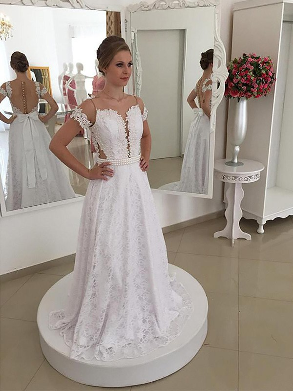 Exquisite A-Line Scoop Lace Sweep/Brush Train Short Sleeves Wedding Dress