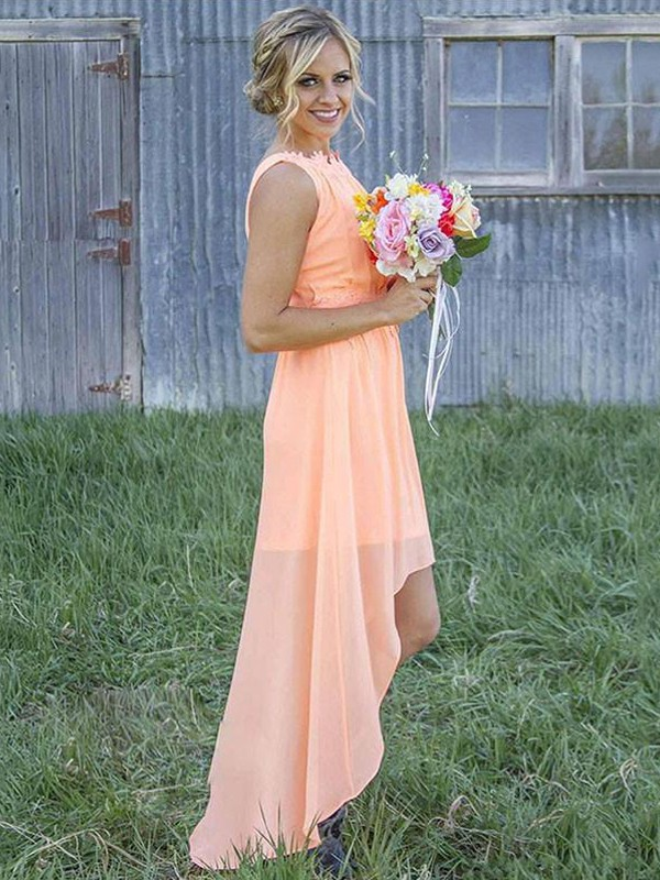 Exquisite A-Line Sleeveless Scoop Asymmetrical Chiffon Bridesmaid Dress