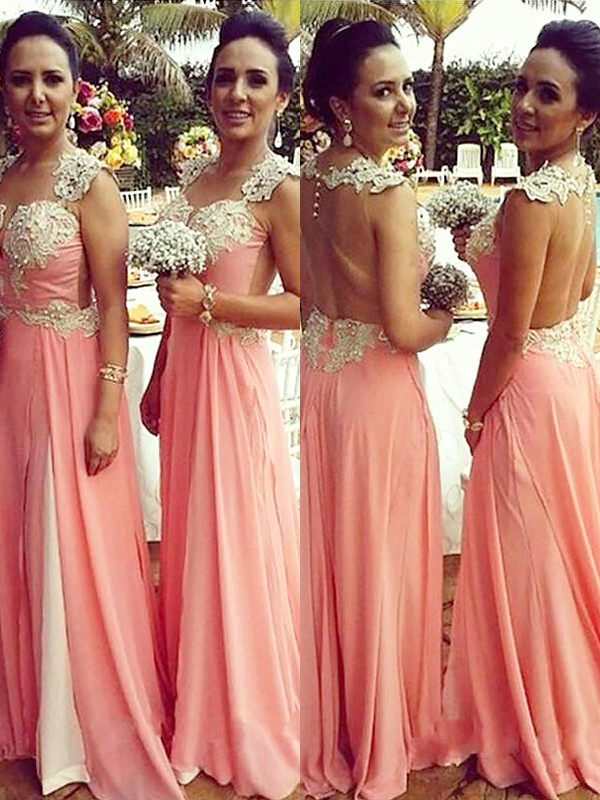 Exquisite A-Line Straps Sleeveless Chiffon Floor-Length Bridesmaid Dress