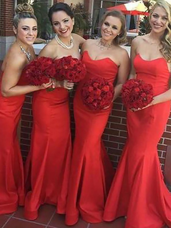 Exquisite Mermaid Sweetheart Floor-Length Sleeveless Satin Bridesmaid Dress