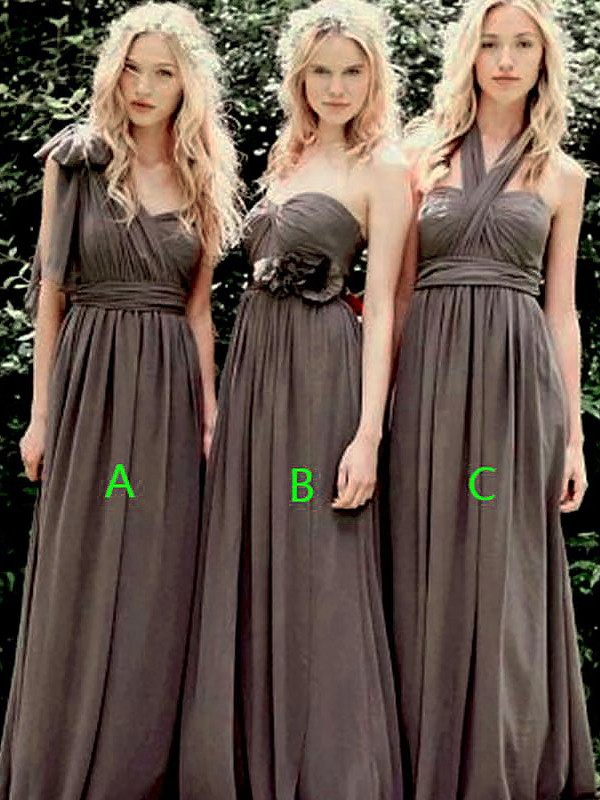 Exquisite A-Line Sleeveless Chiffon Floor-Length Bridesmaid Dress