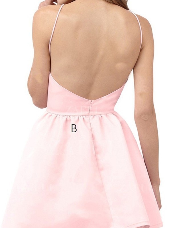 Discount A-Line Halter Sleeveless Short/Mini Satin Dress