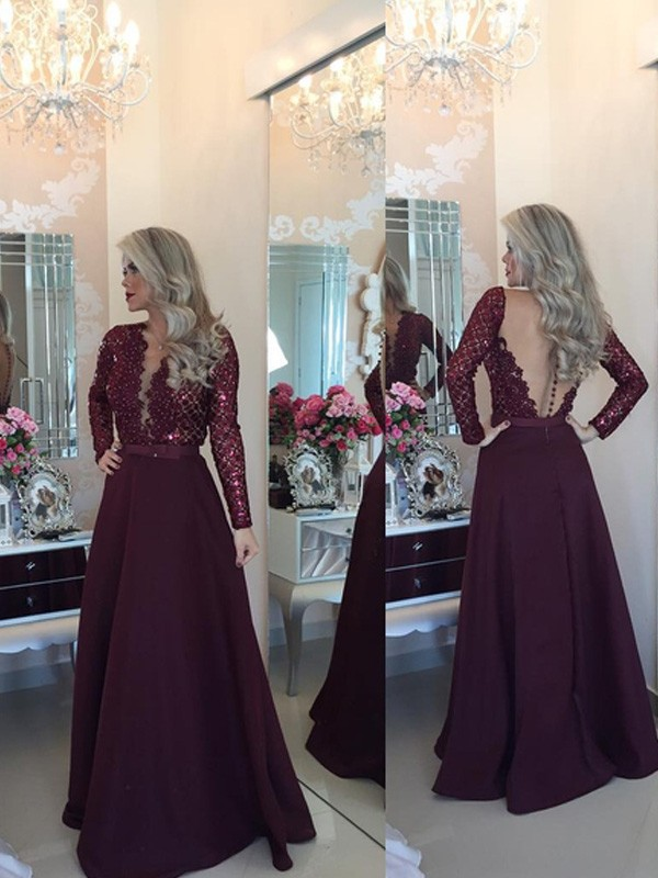 Stunning A-Line Scoop Long Sleeves Sequin Floor-Length Satin Dress