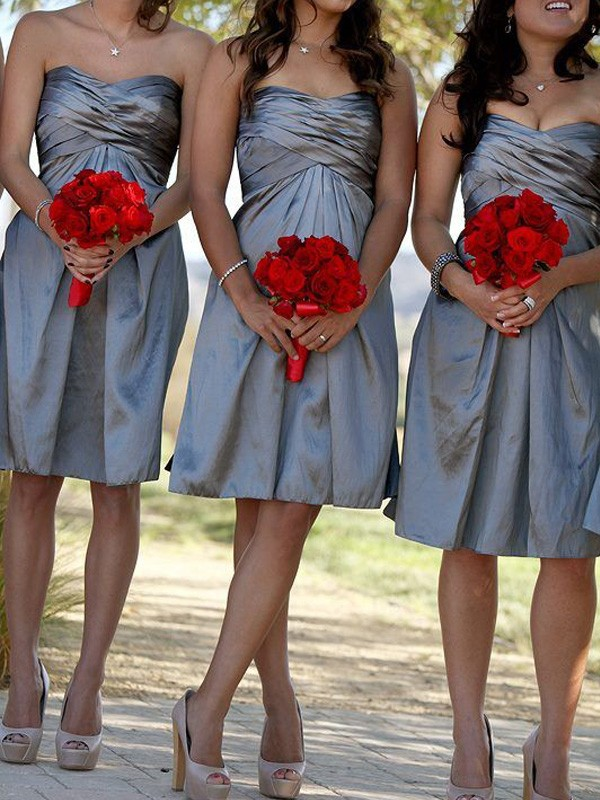 Affordable Sheath Sweetheart Sleeveless Satin Short/Mini Bridesmaid Dress