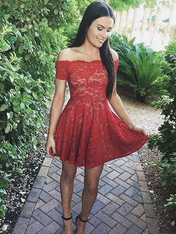 Chic A-Line Off-the-Shoulder Short Sleeves Short/Mini Lace Dress