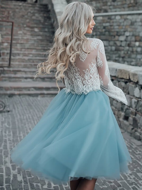 Stylish A-Line Scoop Long Sleeves Short/Mini Tulle Dress