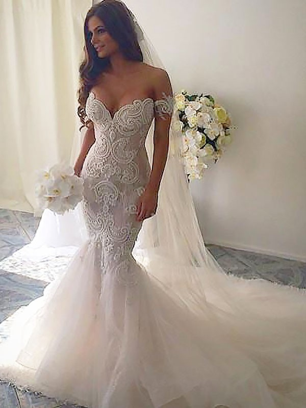 Exquisite Mermaid Chapel Train Off-the-Shoulder Tulle Sleeveless Wedding Dress