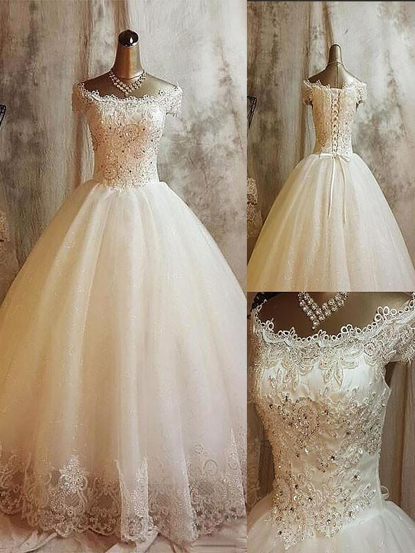 Exquisite Ball Gown Off-the-Shoulder Sweep/Brush Train Sleeveless Tulle Wedding Dress