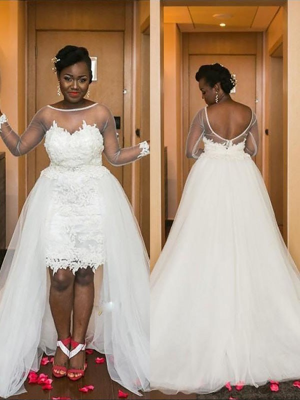 Exquisite A-Line Scoop Court Train Tulle Long Sleeves Wedding Dress