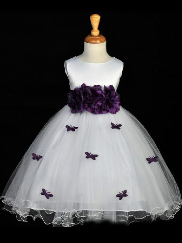 Charming A-line Scoop Hand-made Flower Sleeveless Ankle-length Organza Flower Girl Dress
