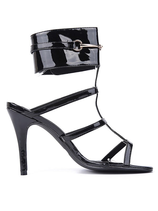 Beautiful Women Patent Leather Peep Toe Stiletto Heel Black Sandals Shoes