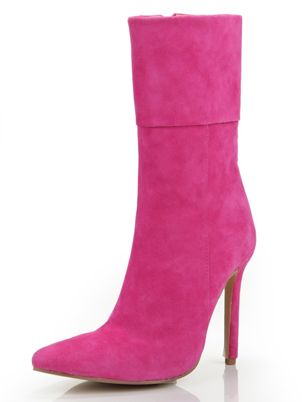Hot Sale Women Stiletto Heel Closed Toe Suede Zipper Mid-Calf Fuchsia Boots