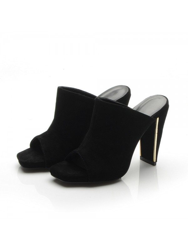 Hot Sale Women Peep Toe Platform Chunky Heel Suede Sandals Shoes