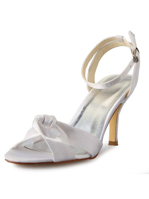 Classical Women Stiletto Heel Peep Toe Satin Buckle Mary Jane White Wedding Shoes