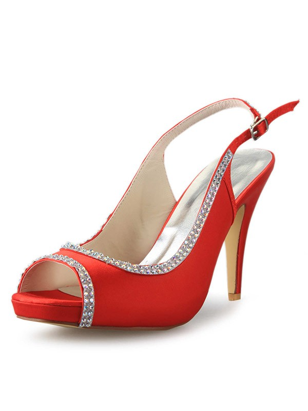 Classical Women Satin Platform Cone Heel Peep Toe Red Wedding Shoes